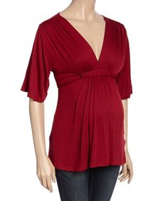 This Burgundy Maternity V-Neck Top is perfect! #zulilyfinds
