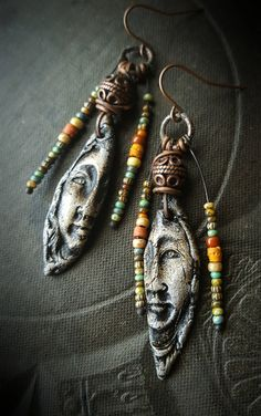Ancient Women, Stone Wear, Clay, Ceramics, Primitive, Glassl, Artisan Made, Rustic, Organic, Beaded Earrings by YuccaBloom on Etsy