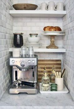 The best ways to build your own Coffee Cafe at Work, these ways will blow your mind Coffee Cafe, My Coffee, Tea Station, Home Coffee Stations, Ceramic Pots, Coffee Corner, Upper Cabinets, Coffee Drinkers, Table Arrangements