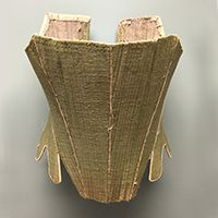 green linen stays corset, c. 1780