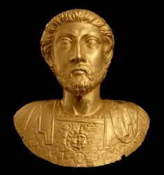 Gold bust of the Emperor Marcus Aurelius - Avenches - Switzerland Ancient Romans, Sculpture, Images, Museum, Statue, History, Projects, Gold, Switzerland
