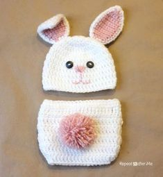 Repeat Crafter Me: Crochet Bunny Hat Pattern. Free pattern for this hat and diaper cover in newborn to adult sizes (for the hat... you'll have to figure out adult sized diaper covers yo own damned self!).