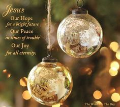 Jesus, Our hope for a bright future, Our Peace in times of trouble, Our Joy for all Eternity! Hallelujah!