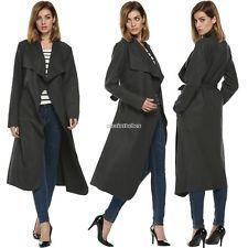 Windbreaker Women Casual Long Sleeve Lapel Overcoat Wool Cardigan Outwear Coat