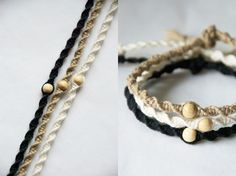 Heute zeige ich euch ein tolles und einfaches DIY zum Thema Makramee Armband kn… Today I'm going to show you a great and easy DIY macrame bracelet with picture tutorial and detailed description. Diy Jewelry Unique, Diy Jewelry To Sell, Diy Jewelry Tutorials, Diy Jewelry Making, Bracelet Making, Macrame Bracelet Diy, Macrame Jewelry, Macrame Knots, Armband Diy
