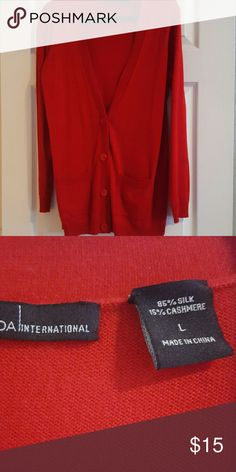 Boyfriend sweater Red, appx 30'' long, perfect for leggings.  Brand new and really soft. Moda International Sweaters Cardigans