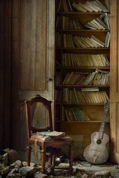 Abandoned books and music-so sad.