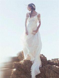 2014 White Sheath V-Neck Beads Chiffon Wedding Dresses Bridal Gowns AWD59020
