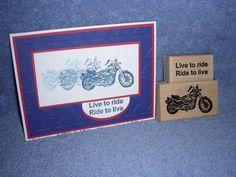 seaside stampin rubber stamp LIVE TO RIDE-motorcycle & saying-BB 65-lot + card #SeasideStampin