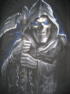 Grim Reaper Death Bringer Photo by Death Reaper, Grim Reaper Art, Grim Reaper Tattoo, Don't Fear The Reaper, Dark Fantasy Art, Dark Art, Reaper Drawing, Flame Art, Skull Pictures