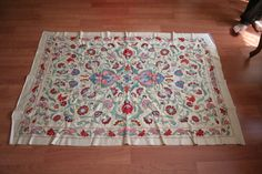 silk on silk suzani table cover by nazarhometextiles on Etsy