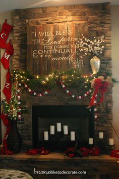 Love the wall hanging / plaque Psalm --- Awesome Christmas Mantle Decor Decoration Christmas, Christmas Mantels, Noel Christmas, Country Christmas, Winter Christmas, All Things Christmas, Xmas, Christmas Fireplace Decorations, Pallet Christmas