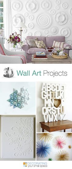 "3D Wall Art Projects • Great Ideas  tutorials! (The ""j"" is backwards but cute project)"