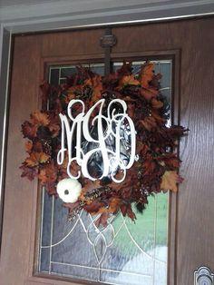Fall Leaf Monogram Wreath Thanksgiving Wreath by simplystunninghome, $79.00
