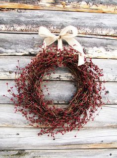 Primitive Country Wreath-Wreath-Rustic Farmhouse Decor-CRANBERRY RED Wresth Scented Wreaths-Door Decor- Holiday Decor-Christmas Gift - Fall Wreath-Autumn Door Wreaths-Rustic by WildRidgeDesign on Etsy - Decoration Christmas, Noel Christmas, Primitive Christmas, Christmas Is Coming, Country Christmas, Winter Christmas, All Things Christmas, Christmas Wreaths, Holiday Decor