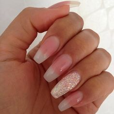 American manicure with a touch of glitter