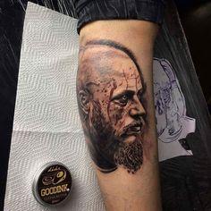 #ImBruceTheLightnInk #ragnar ragnar lothbrok tattoo #tattoo realistictattoo design blackandgrey ink vikings viking