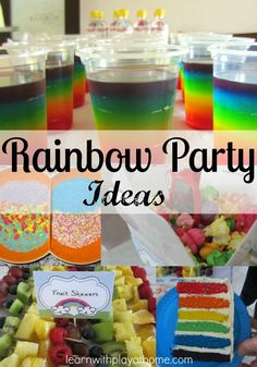 rainbow party, rainbow birthday, rainbow jelly, rainbow cake (Not doing cake) Rainbow Parties, Rainbow Birthday Party, Rainbow Theme, Birthday Fun, First Birthday Parties, Birthday Party Themes, First Birthdays, Rainbow Jelly, Birthday Ideas