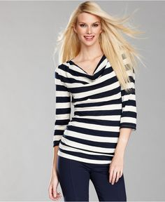INC International Concepts Top, Three-Quarter-Sleeve Striped Cowl-Neck - Womens Tops - Macy's