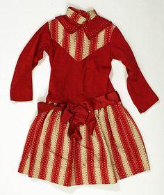 Bright Red American Wool Girl's Dress (aged 6-8), circa 1880-90   #1880s #19thcentury