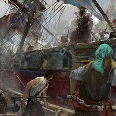 Assassin's Creed, Fantasy Character Design, Fantasy Characters, Kobe, Scenery, Flag, Paintings, Artwork, Work Of Art