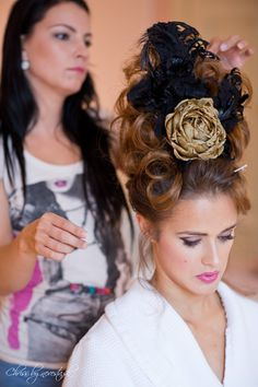 Another picture of our stunning Venice Headdress.  Silk rose, lace and feathers. What do think? :-)