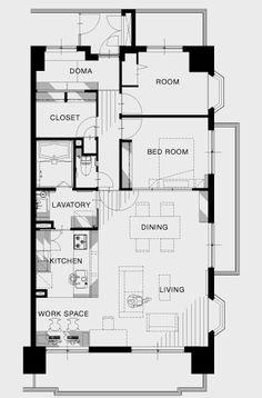 リノベーション後 Apartment Floor Plans, House Floor Plans, Mansion Plans, 2 Bed House, Room Interior Design, Japanese House, Home Renovation, Architecture Design, Bedroom Decor