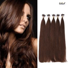 Micro Ring Hair Extensions #4 Medium Brown Straight Wave Brazilian Hair Unprocessed Virgin Remy Nano Loop Hair Weaves 5A 100g