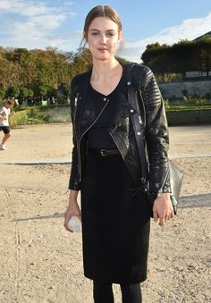 #LindseyWixson LBD and leather jacket. Paris