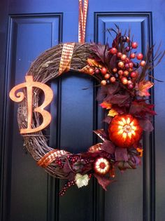 possible DIY- Monogram Fall/Thanksgiving Wreath (etsy)