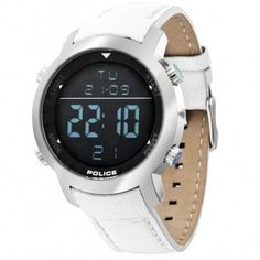 Police Cyber 46 This is just absolutelly great digital wristwatch.nice and simple design and no ugly rubber strap bud nice and leather in white. Police Watches, Watches For Men, Wearable Technology, Bratislava, Watches Online, Watch Brands, Boy Bands, Cyber, Smart Watch