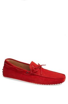 $445, Red Suede Tassel Loafers: Giommini Suede Driving Shoe Red 9us 8uk by Tod's. Sold by Nordstrom. Click for more info: http://lookastic.com/men/shop_items/90344/redirect