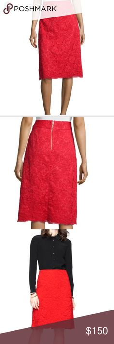 Kate Spade new red  skirt size 8 but runs small New! The last  photo shows the real red color, 8 on label , but more like small size 4-6, 15 inch waist in flat kate spade Skirts Midi