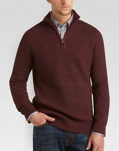 Quarter zip mock sweater in charcoal