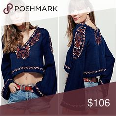 🌼 Free People High Times Embroidered Top, NWT Beautiful embroidered design surrounds the neckline, shoulders & hem. This top is sexy and feminine. The crop design can be masked by  a tank or chemise underneath. Free People Tops