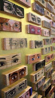 Ogen printen op hout - techniek met bakpapier