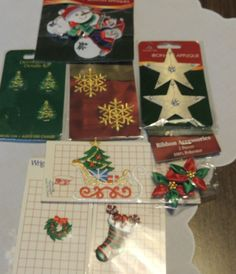Lot of 2 Vintage 1980/'s Christmas Candles Beaded Applique Sew On Craft Patch
