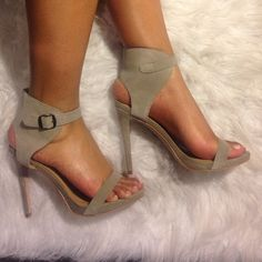 Taupe Stilleto!  Gift from Shoe Mint. Material is faux suede, heel height is 4.5. Sounds steep but there's a small platform on the front of shoe to wear comfortably. Shoe size says 7.5 but the fit like an 8. Worn once for a shoot. If you'd like more pictures let me know. Shoemint Shoes Heels