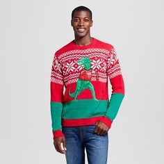 Men's Ugly Christmas Sleeves Too Long T-Rex Sweater - 33 Degrees : Target
