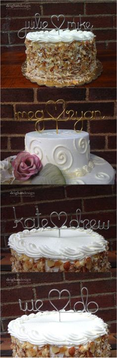 A lovely personalized touch for any wedding cake. Made out of wire, this cake topper can be personalized with your first names, your new shared last name, or the date of your wedding. | Hatch.co