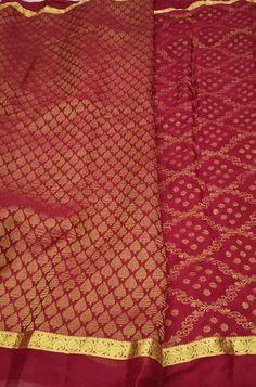 Red Handloom Mysore Crepe S... Red Fabric, Silk Fabric, Woven Fabric, Crepe Silk Sarees, Silk Crepe, Mysore Silk Saree, Red Color, Color Schemes, Sewing