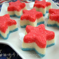 Red, White, and Blue Striped Creamy Coconut Stars; oh my!!  http://www.hungryhappenings.com/2011/06/red-white-and-blue-striped-creamy_20.html#