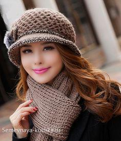 шапка вязаная с полями модная