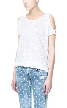 Image 1 of T-SHIRT WITH CUT-OUT SHOULDERS from Zara