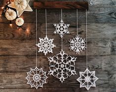 Crochet snowflakes decoration  Christmas and by Woodstorming
