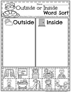 Worksheets 411657222183965657 - Kindergarten Math Worksheets – Measurement and Data Sorting Inside or Outside Source by brownmo Measurement Kindergarten, Measurement Worksheets, Kindergarten Math Worksheets, Preschool Learning Activities, Free Preschool, Preschool Kindergarten, Kids Learning, Classroom Activities, Cut And Paste Worksheets
