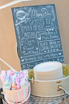 I really like this chalkboard menu for the wedding!