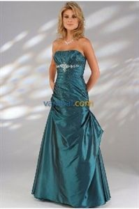 Sultry Strapless Beaded Teal Taffeta 2010 Evening Dress   $124.00