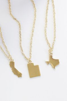 CA, UT, TX,AZ, OH, MI, NY Available now More states will be added weekly    Plated in 14k gold, state measures 1.5 cm in width