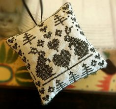 Blackwork Rabbits and Hearts Ornament by CherieWheeler on Etsy, $9.00